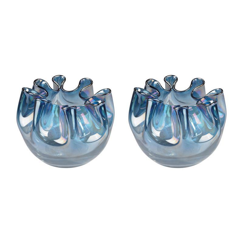 Dimond Home 154-005/S2 Navy Blue Splash Glass Vase - Set of 2 Navy