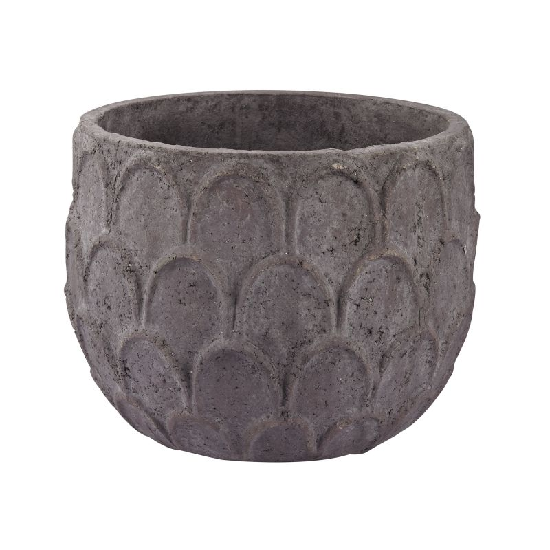 Dimond Home 156-010 Small Aged Powdered Lotus Petal-Carved Pot Dark