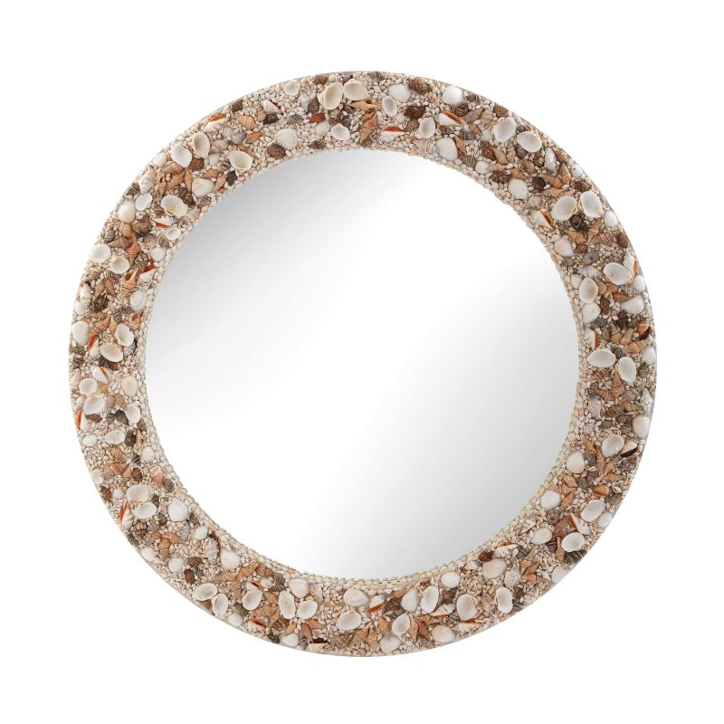 "Dimond Home 159-014 31""Round Shell Framed Wall Mirror Natural Home"
