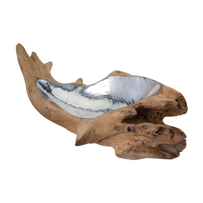 Dimond Home 162-011 Short Teak Root Bowl With Aluminum Insert Natural