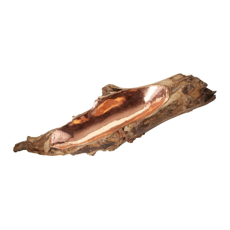 Dimond Home 162-013 Short Teak Root Bowl With Copper Insert Natural