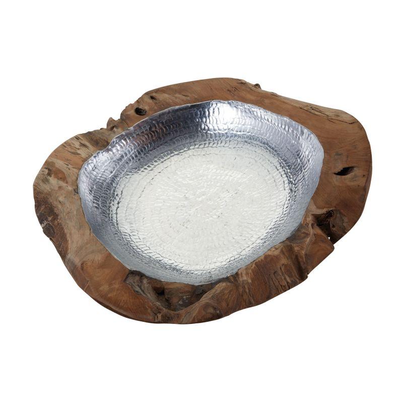 Dimond Home 162-014 Large Round Teak Bowl With Aluminum Natural Teak /