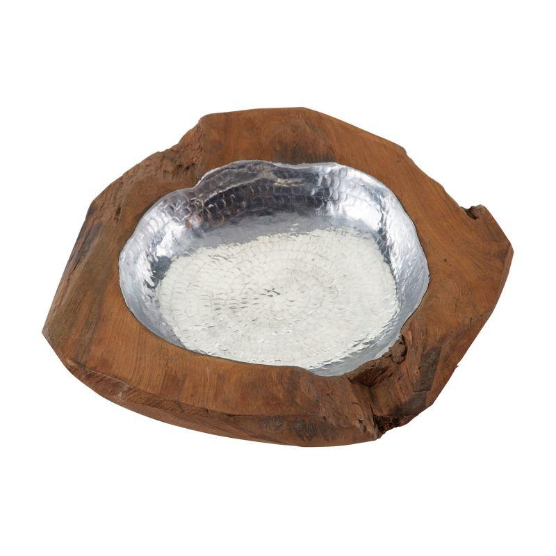 Dimond Home 162-016 Small Round Teak Bowl With Aluminum Natural Teak /