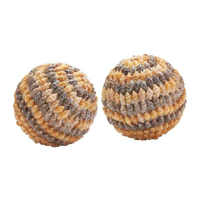 Dimond Home 163-020/S2 Brown Shell Balls - Set of 2 Natural Home Decor