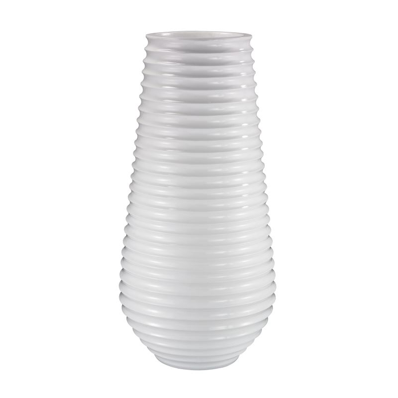 Dimond Home 166-007 White Ribbed Planter Gloss White Home Decor