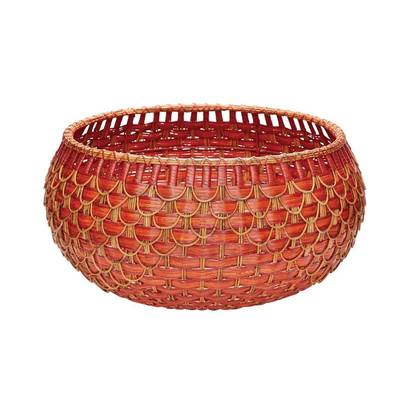 Dimond Home 466053 Large Fish Scale Basket In Red And Orange Red /