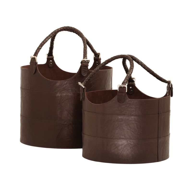 Dimond Home 819007 Nested Espresso Leather Buckets - Set Of 2 Brown