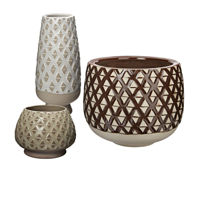 Dimond Home 857-163/S3 Two Tone Lattice Pots - Set of 3 Neutral Glaze
