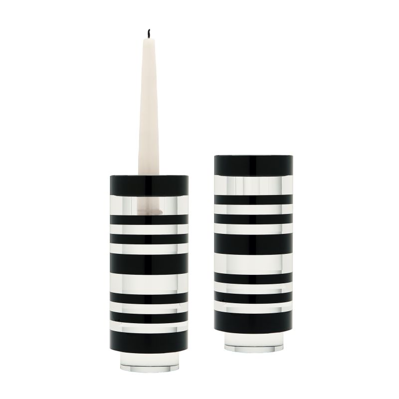 Dimond Home 980001/S2 Sliced Tuxedo Small Crystal Candleholder - Set