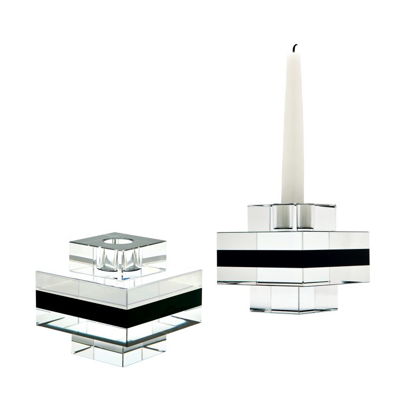 Dimond Home 980018/S2 Square Tuxedo Crystal Pedestal Candleholders -