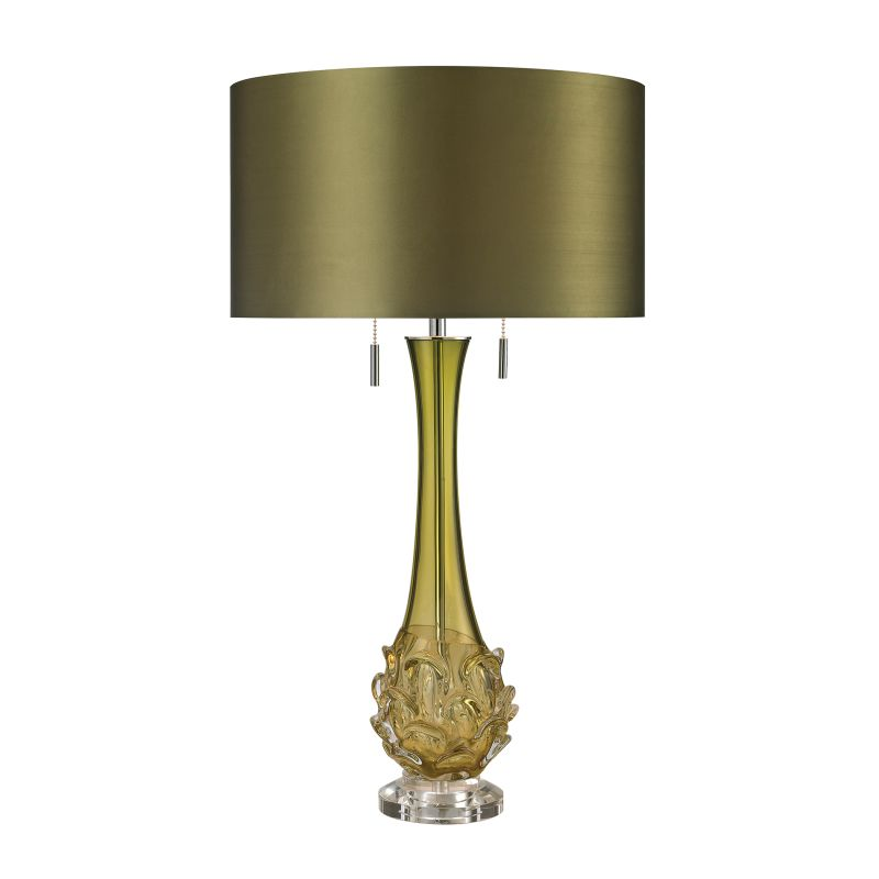 Dimond Lighting D2667 2 Light Accent Table Lamp with Green Faux Silk