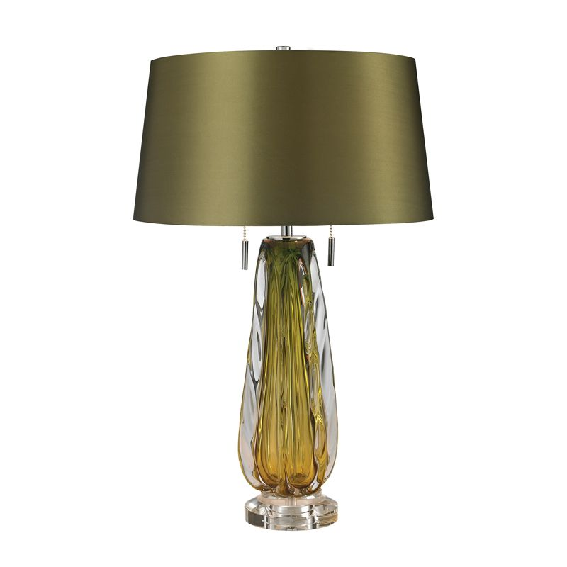 Dimond Lighting D2670 2 Light Accent Table Lamp with Green Faux Silk