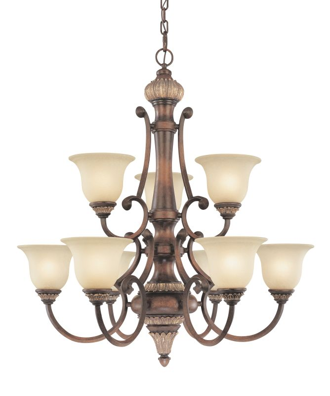 Dolan Designs 2642 Nine Light 2-Tier Chandelier from the Bonita