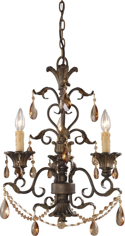 ELK Lighting 3343/3 Rochelle 3 Light 1 Tier Mini Crystal Chandelier