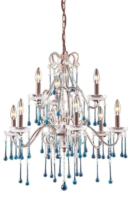 ELK Lighting 4013/6+3 Crystal 2 Tier 9 Light Up Lighting Chandelier Sale $868.00 ITEM: bci73534 ID#:4013/6+3AQ UPC: 748119401317 :