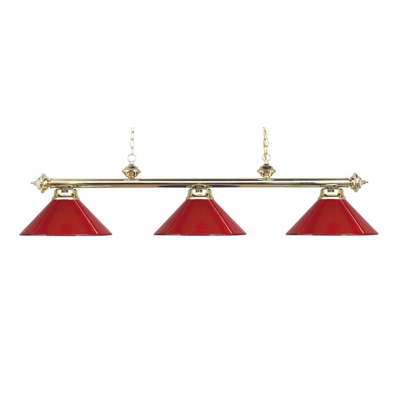 167 PB RED Polished Brass Casual Traditions Three Light Kitchen Island