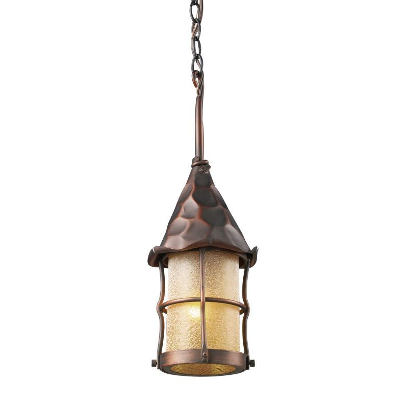 ELK Lighting 388 Rustica Single-Light Outdoor Pendant Antique Copper