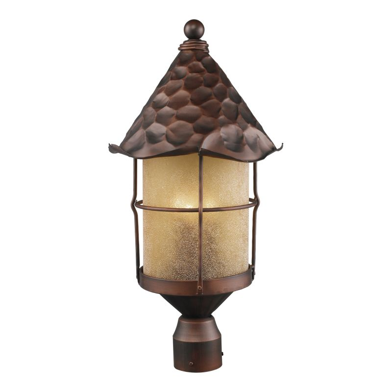 ELK Lighting 389 Rustica Three-Light Outdoor Post Light Antique Copper