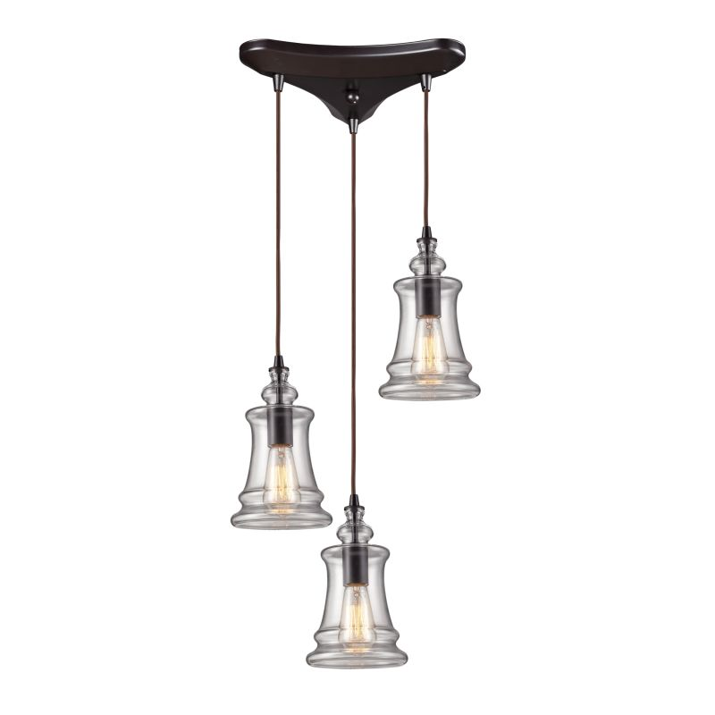 ELK Lighting 60042-3 Oiled Bronze Industrial Menlow Park Pendant