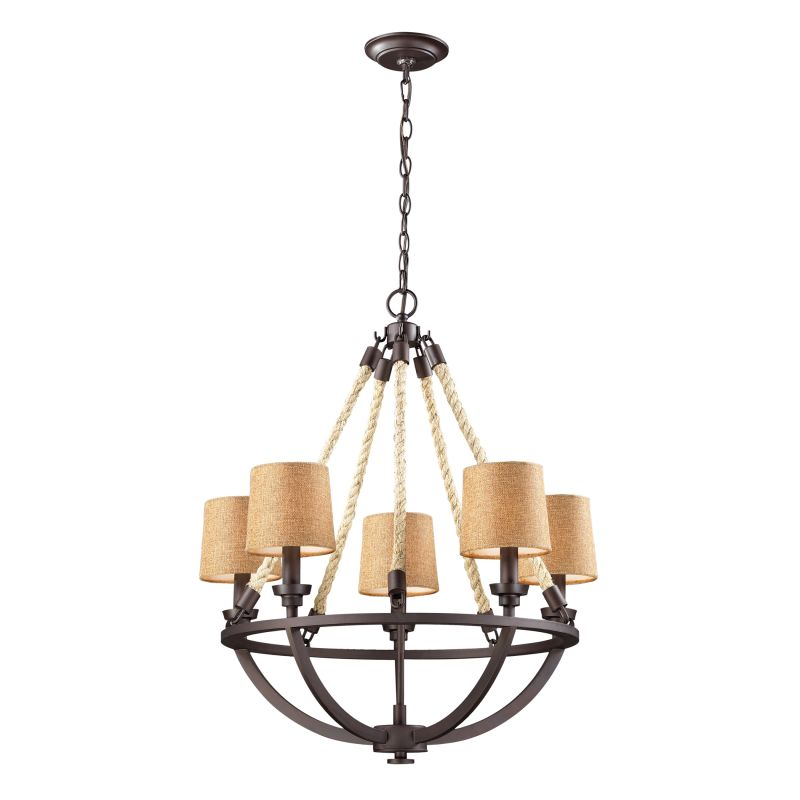 Elk Lighting Fans: ELK Lighting 63015-5 Aged Bronze Natural Rope Five-Light 1