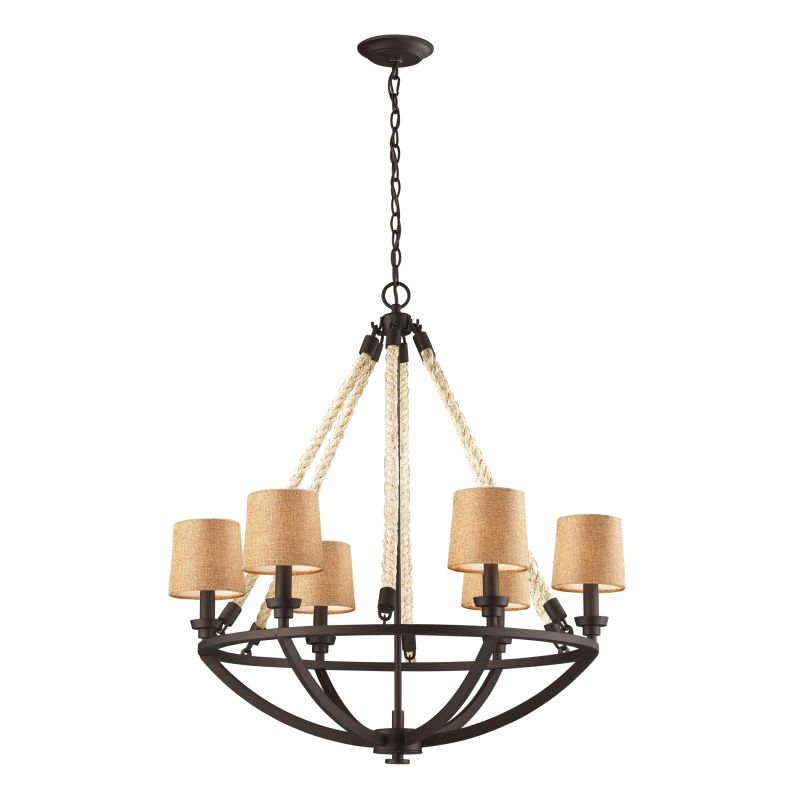 Elk Lighting Fans: ELK Lighting 63016-6 Aged Bronze Natural Rope Six-Light 1