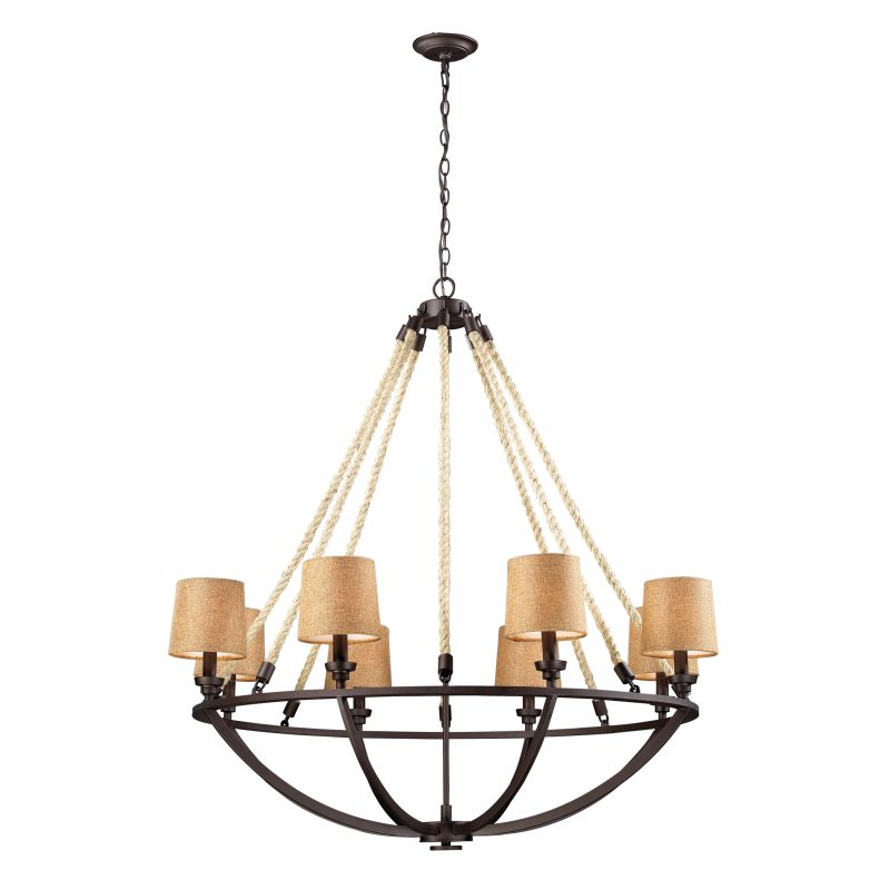 ELK Lighting 63017-8 Natural Rope Eight-Light 1 Tier Chandelier Aged Sale $1058.00 ITEM: bci2221002 ID#:63017-8 UPC: 830335014614 :