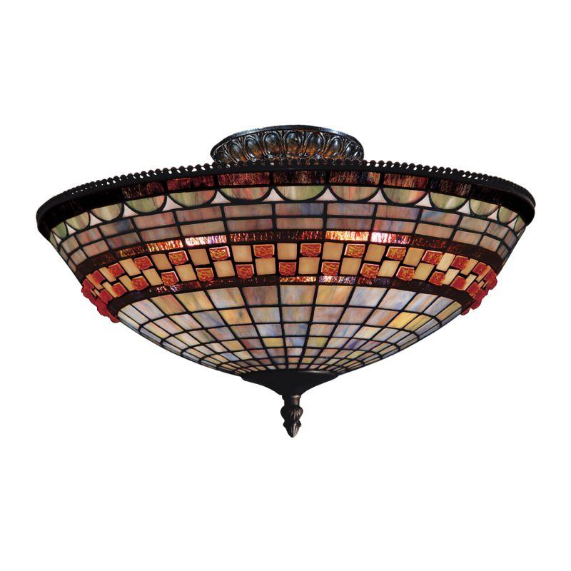 ELK Lighting 934 Jewelstone Three-Light Semi-Flush Ceiling Fixture