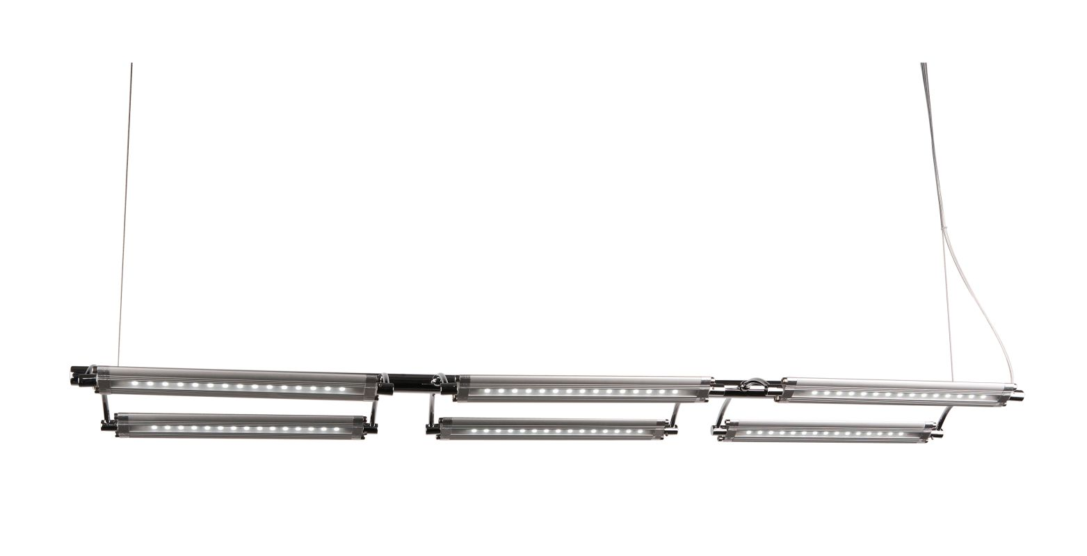 ET2 E20941 Helix 6 Light 1 Tier LED Linear Chandelier Polished Chrome