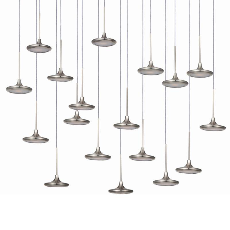 ET2 E20586-61BS Disc 18 Light LED Linear Pendant Brushed Steel Indoor