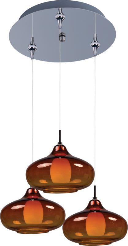 ET2 E94648-141PC Chrome with Amber Glass Contemporary Minx Pendant