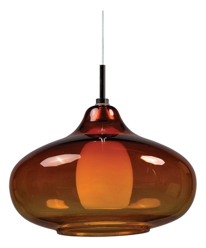 ET2 EP96085-141PC Chrome with Amber Glass Contemporary Minx Pendant