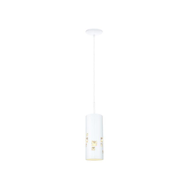 Eglo 200379 Pigaro 1 Light Mini Pendant White / Crystals Indoor