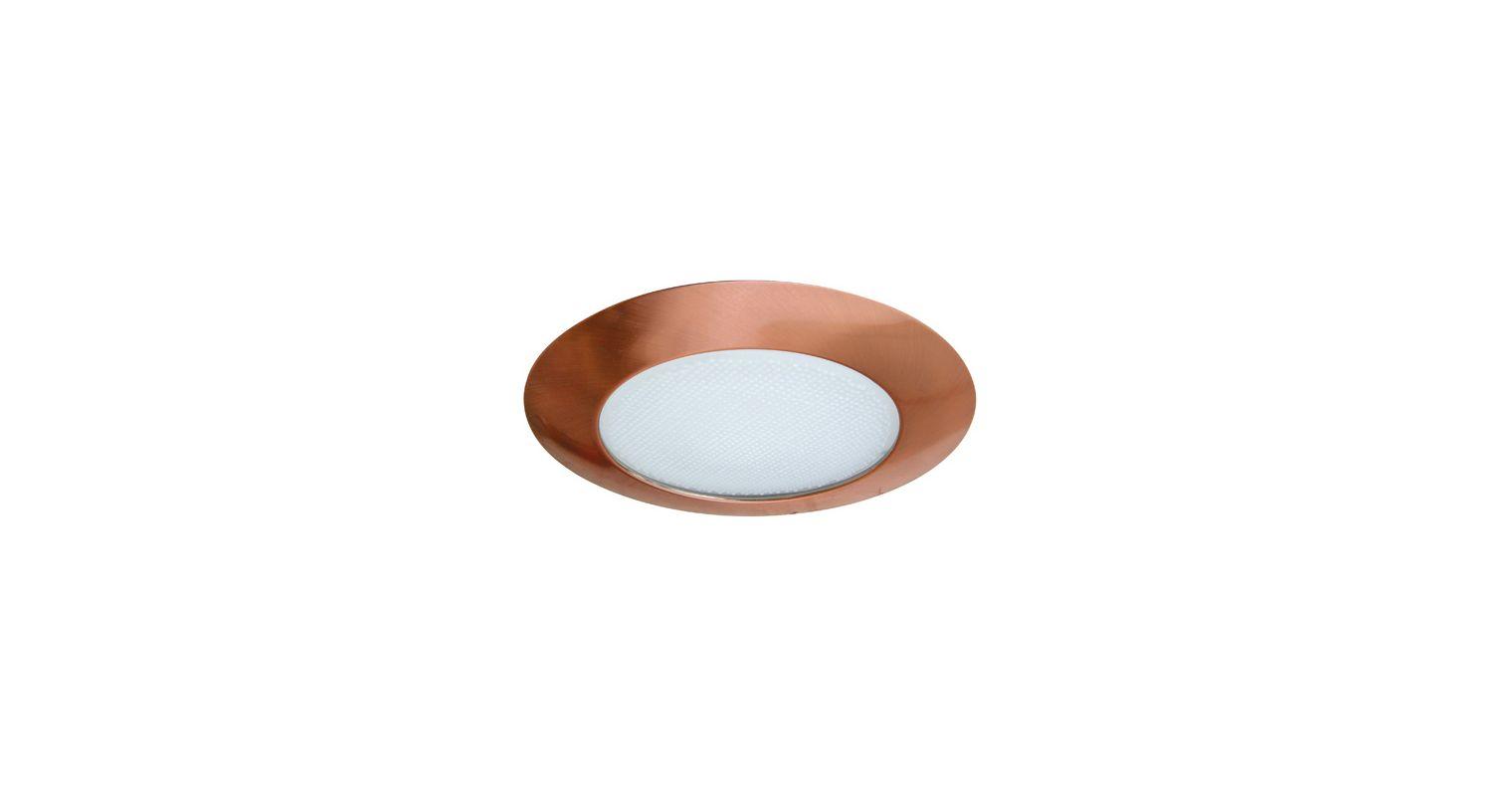 "Elco EL12 6"" Shower Trim with Albalite Lens Copper Recessed Lights"