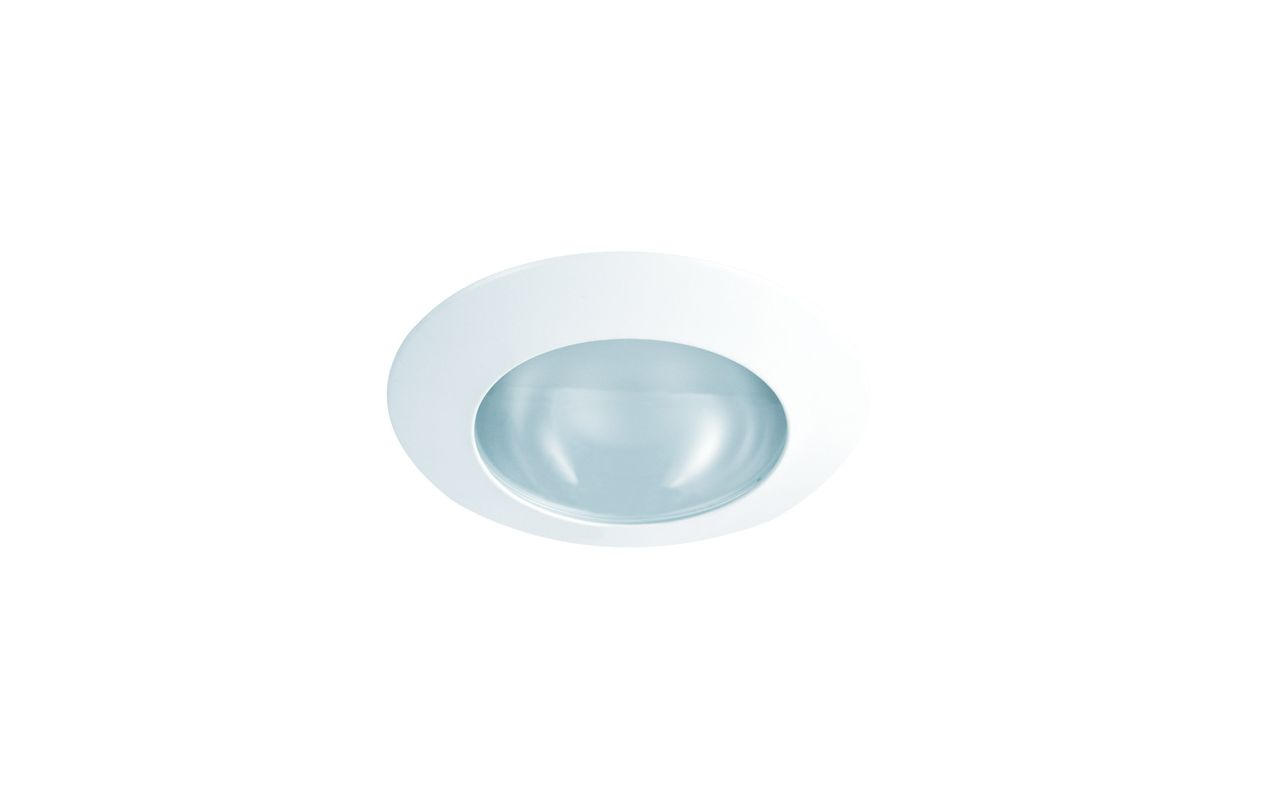 "Elco EL22 6"" Shower Trim with Frosted Lens White Lexan Ring Recessed"