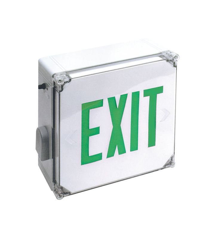 Elco EE22GW Weatherproof LED Exit Sign with Green Letters and Battery