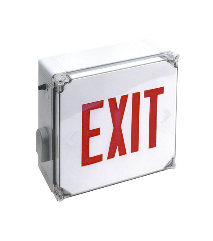 Elco EE21RW Weatherproof LED Exit Sign with Red Letters and Battery