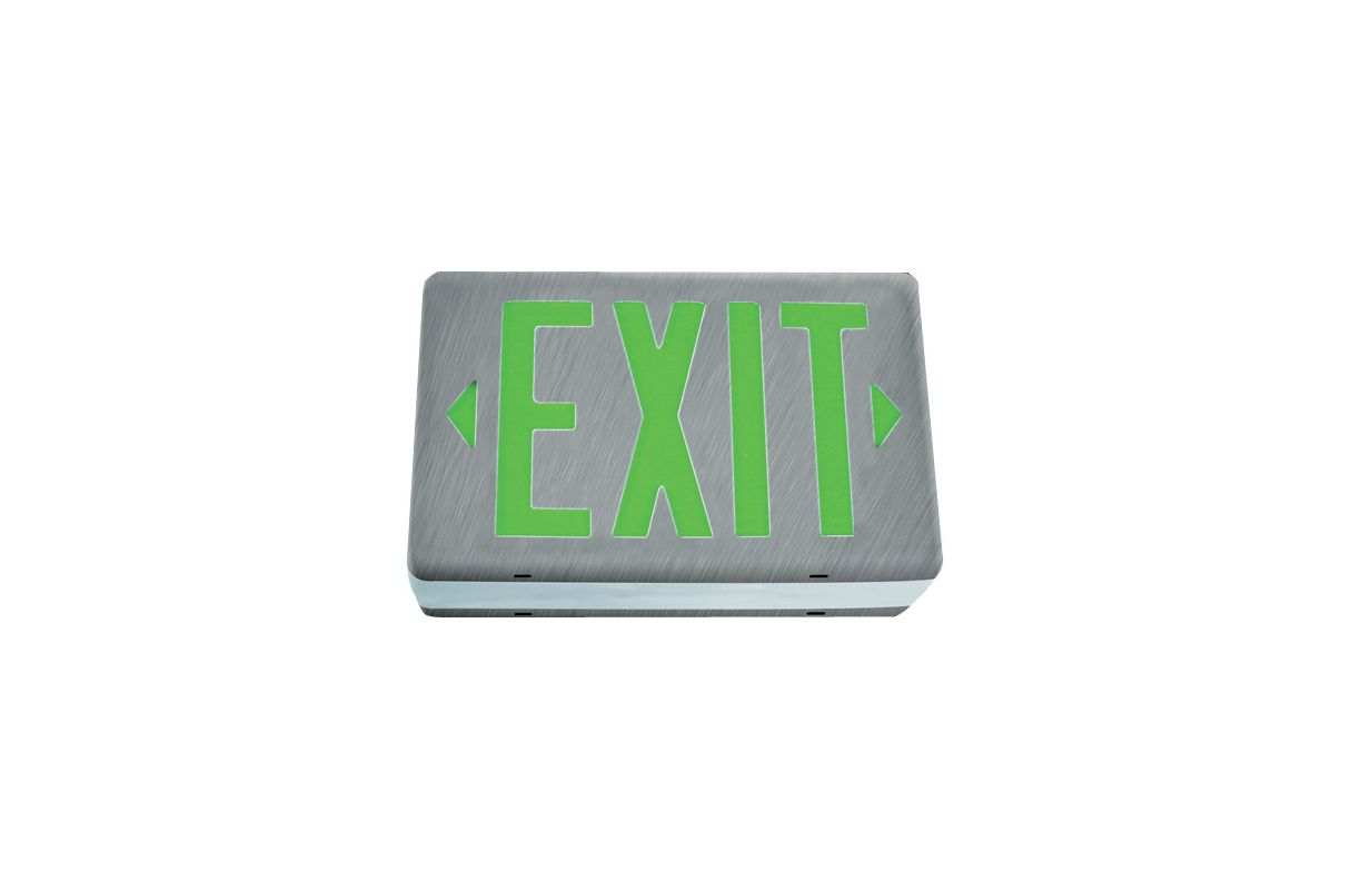 Elco EE74GD Double Face Diecast LED Exit Sign with Green Letters Green