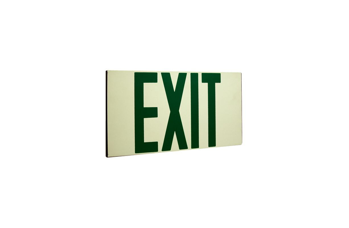 Elco EE80S Self Illuminating Exit Sign with Green Letters Green