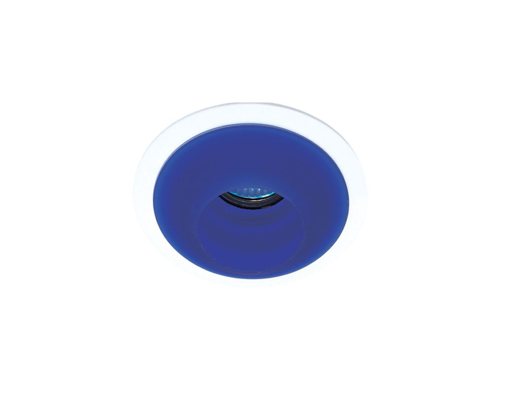 "Elco EL1453 4"" Low-Voltage Adjustable Frosted Stepped Glass Trim Blue"