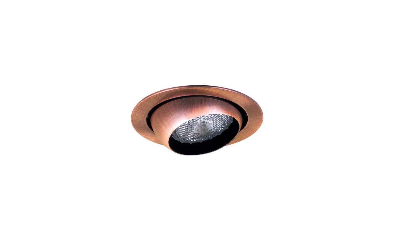 "Elco EL18 6"" Eyeball Trim for 75W Bulbs Copper Recessed Lights"