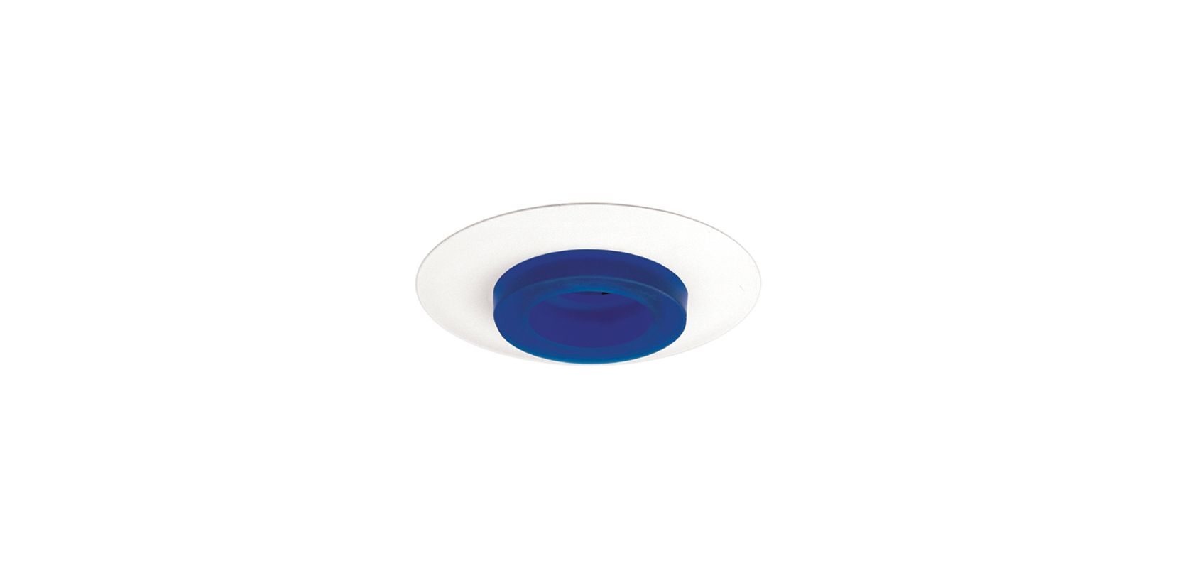 "Elco EL2552 6"" Low-Voltage Frosted Glass Trim Blue Recessed Lights"