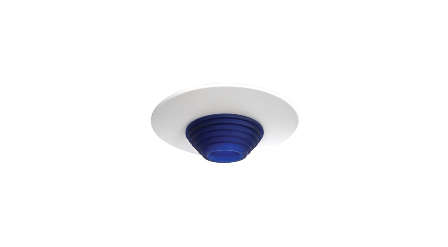 "Elco EL2553 6"" Low-Voltage Frosted Stepped Glass Trim Blue Recessed"