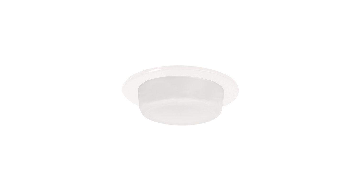 "Elco EL516SH 5"" White Lexan Shower Trim with Drop Opal Lens White"