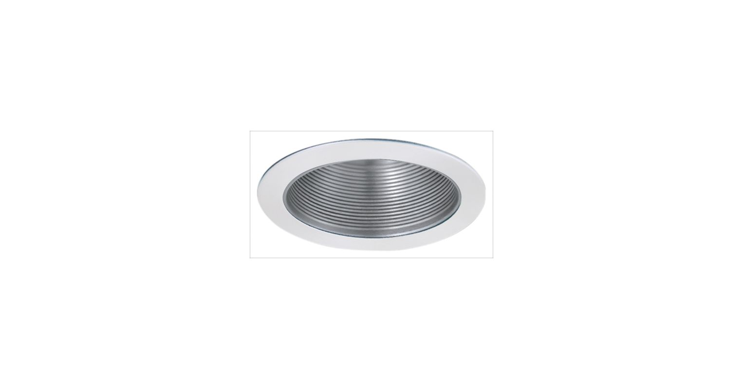 "Elco ELM530 5"" Metal Stepped Baffle Nickel / White Recessed Lights"