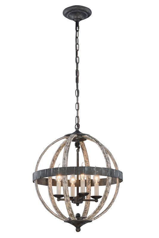 "Elegant Lighting 1503D18 Orbus 4 Light 18"" Wide Rustic Globe Pendant"