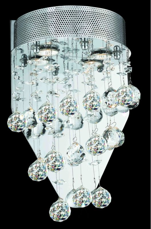 Elegant Lighting 2024W12C(LED) Galaxy 2-Light LED Crystal Wall Sconce