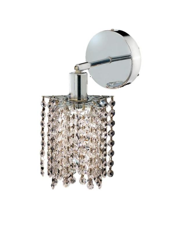 Elegant Lighting 1281W-R-P-CL Mini 1-Light Crystal Wall Sconce
