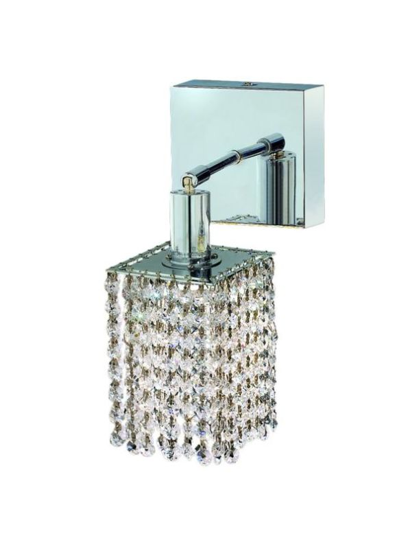 Elegant Lighting 1281W-S-S-CL Mini 1-Light Crystal Wall Sconce