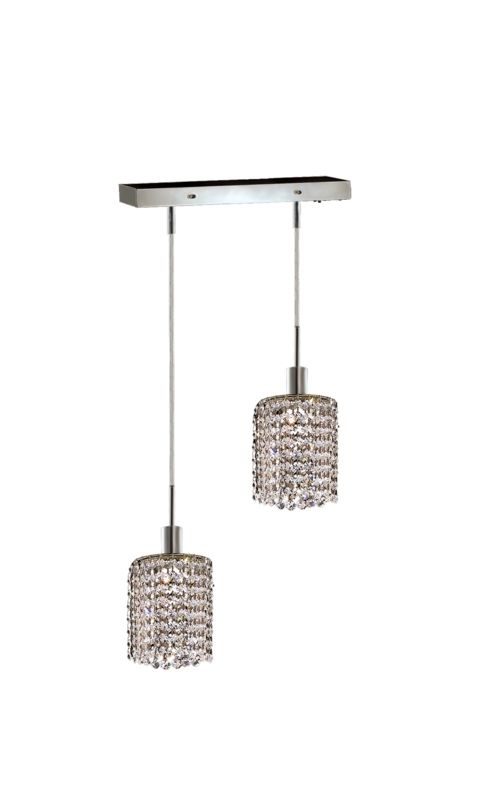 Elegant Lighting 1282D-O-R-CL Mini 2-Light Crystal Pendant Finished