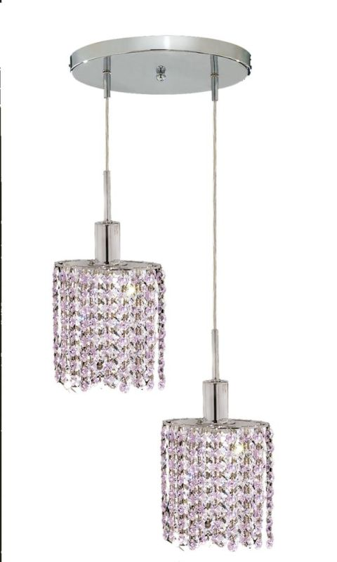 Elegant Lighting 1282D-R-E-RO Mini 2-Light Crystal Pendant Finished
